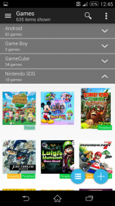 Game collection in grid mode, group by platform