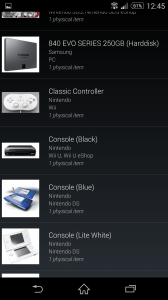 The Hardware collection in list mode, sorted by name