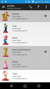 My Game Collection amiibo tracking list